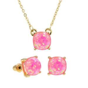 Jewelry - Pink Glitter Square Set